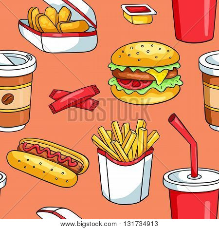 Seamless pattern with fast food. Vector sketch background.