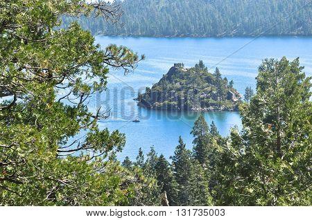 View of Fannette Island in Emerald Bay in Lake Tahoe, California