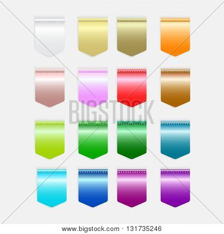 Set of light colorful button icon Label icon illustration