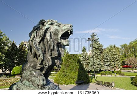 Statue of a lion in city center of Ruse Bulgaria
