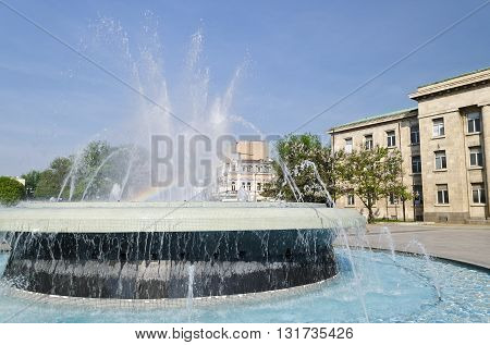 Fountain at garden in the city Ruse town
