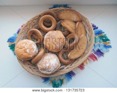 Traditional products of the Belarusian cuisine. Served guests to tea