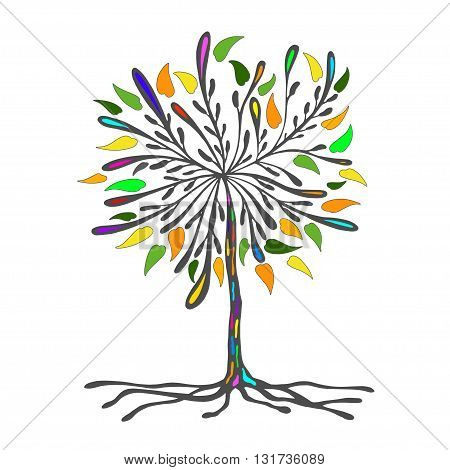 abstract illustration of a tree with colored bright leaves