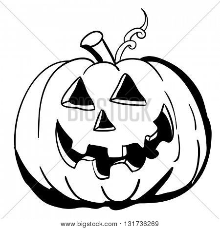 black and white halloween pumpkin cartoon