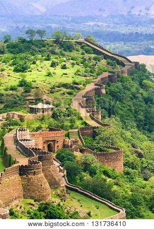 Massive Walls Of Kumbhalgarh Fort, India