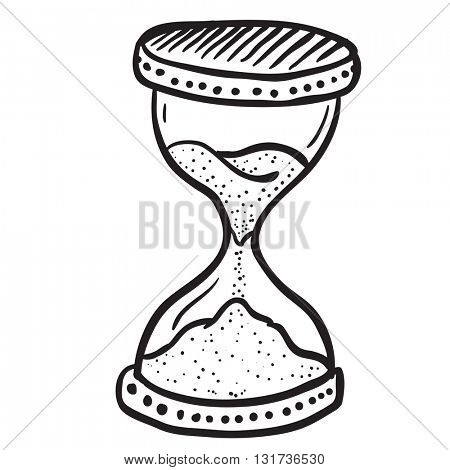 black and white hourglass cartoon