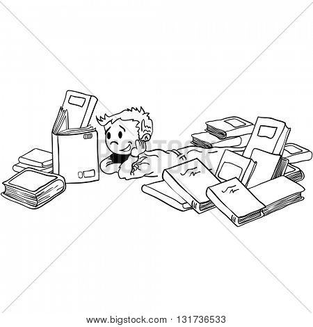 black and white kid with books cartoon illustration