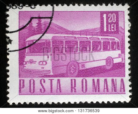 ZAGREB, CROATIA - JULY 18: A stamp printed in Romania shows bus, circa 1968, on July 18, 2014, Zagreb, Croatia