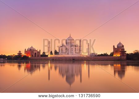 Taj Mahal In Agra, India On Sunset