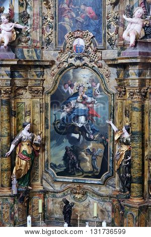KOTARI, CROATIA - SEPTEMBER 16: Saint Mary altar in the church of Saint Leonard of Noblac in Kotari, Croatia on September 16, 2015.