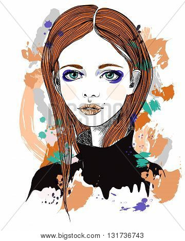 Portrait of a girl with red hair. Fashion illustration on abstract background. Print for T-shirt