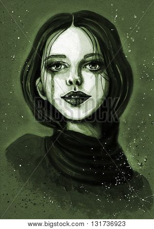 Portrait of beautiful girl in a scarf. Fashion acrylic hand-painted monochrome illustration
