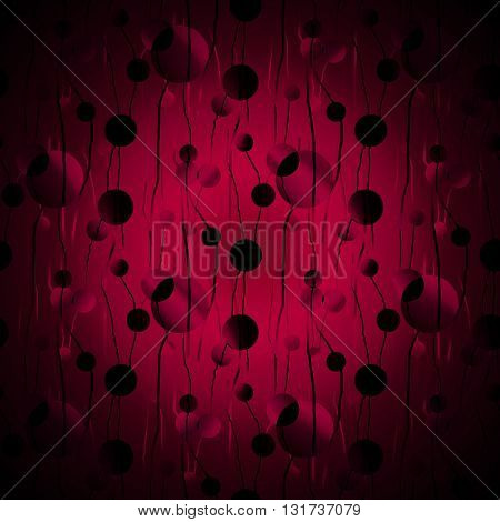 Abstract geometric seamless background. Scattered circles pattern in dark red and red violet shades with black elements, centered and blurred.