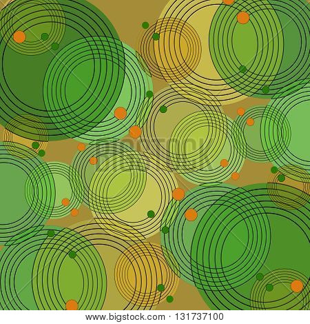 Abstract geometric background. Scattered concentric circle pattern overlaying with black outlines. Elements in yellow, orange and green shades and dots on light brown.