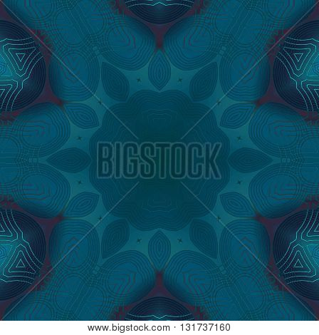 Abstract geometric seamless background. Dark floral ornament, centered and symmetric, in turquoise shades with dark brown elements.
