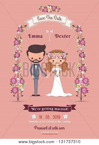 Rustic bohemian cartoon couple wedding card on pink background