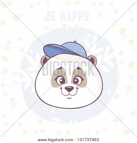 Funny and cute cartoon panda boy with cap on his head. Vector illustration