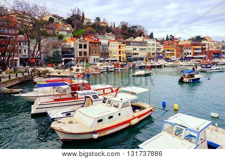 Small Colorful Harbor In Istanbul City, Turkey