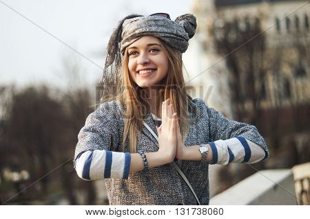 Beautiful Happy woman smile in the street