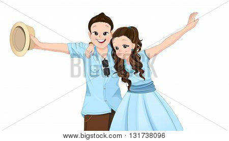 Happy asian couple extend their arms with smiling isolate mode on vocation and summer theme.