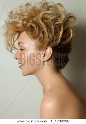 a large portrait of a girl with beautiful hair on a white background