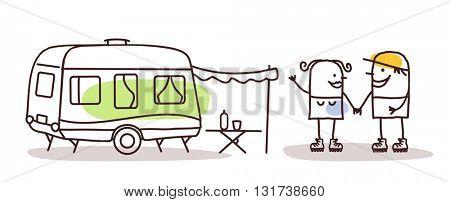 cartoon man and woman with a caravan