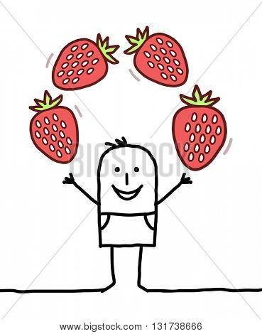 cartoon happy man with strawberries