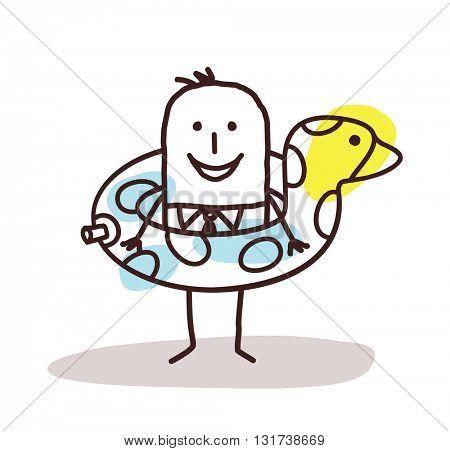 cartoon businessman with a duck buoy