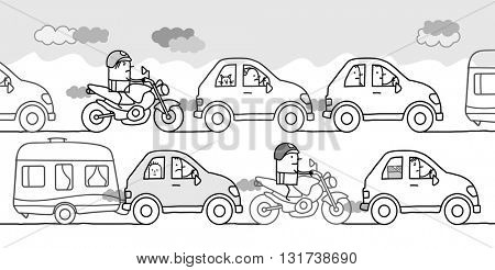 cartoon people in a polluted traffic jam