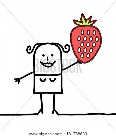 cartoon happy woman with strawberry