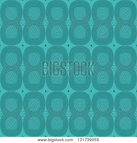 Abstract geometric seamless background. Regular ellipses pattern turquoise green with black outlines and light gray diamond pattern.