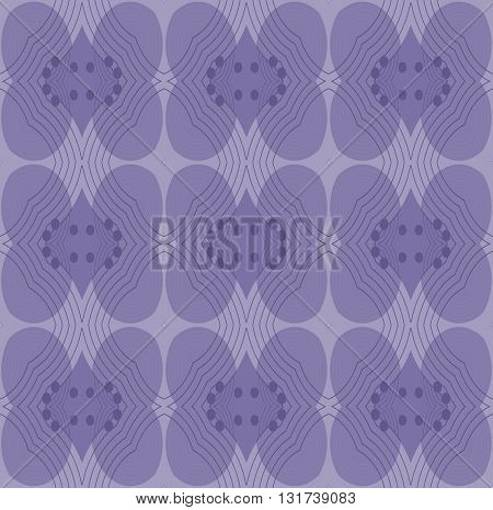 Abstract geometric retro background. Ornate seamless ellipses and diamond pattern in purple shades and outlines, delicate and dreamy.