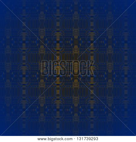 Abstract geometric seamless background. Ornate seamless ellipses pattern dark blue, brown and gold, centered and blurred.