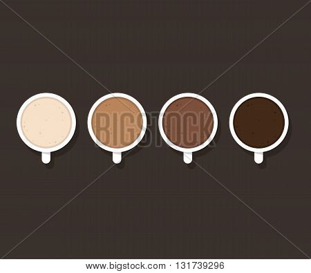 Set of coffee cups with different milk content from whole milk to black coffee. Latte cappuccino and hot chocolate. Minimalist cafe poster.
