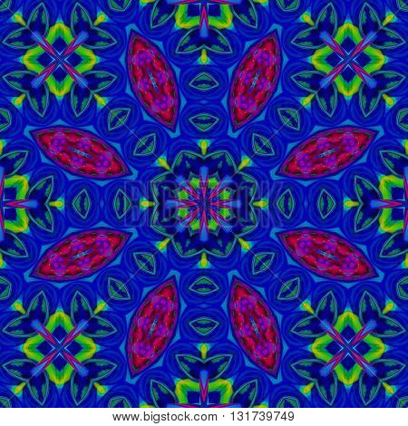 Abstract geometric seamless background, kaleidoscope. Floral ornament dark blue, red and violet with square elements in bright green, ornate and conspicuous.