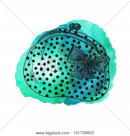 Purse with a bow. Hand-drawn illustration on green watercolor background