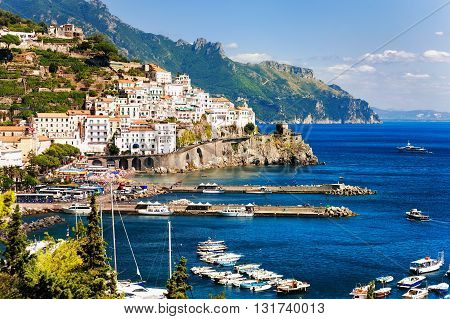 Amalfi Town On Mediterranean Sea, Naples, Italy