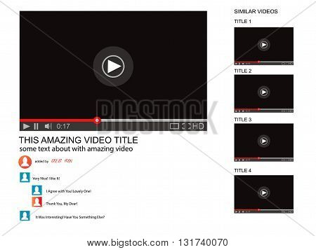 Vector browser window with video player web site mock up. User Comments. Media Player template. Video player Interface