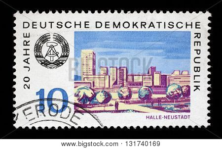 ZAGREB, CROATIA - JULY 02: a stamp printed in GDR shows View of Halle Neustadt, circa 1969, on July 02, 2014, Zagreb, Croatia