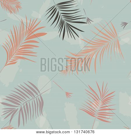 Print palm leaves vector illustration pattern on green background. Summer nature wallpaper. Trendy fashion cover
