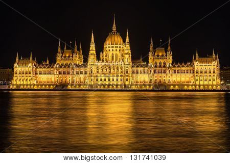 The Hungarian Parliament on the Danube River in Budapest Hungary