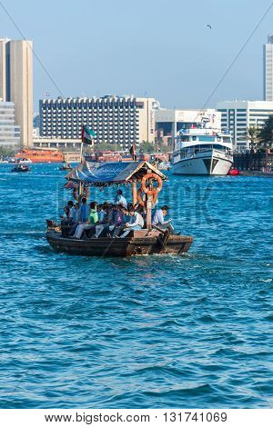 Traditional Arabic Boats At Dubai Creek, Uae