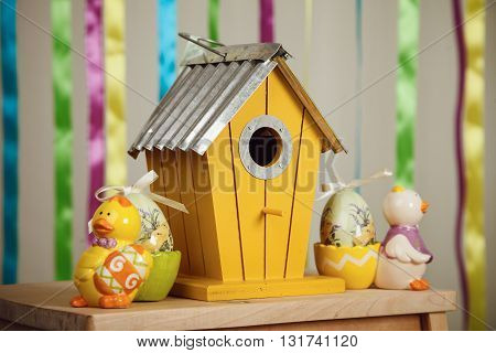 Easter Composition - Birdhouse And Toys Of Chicken And Eggs