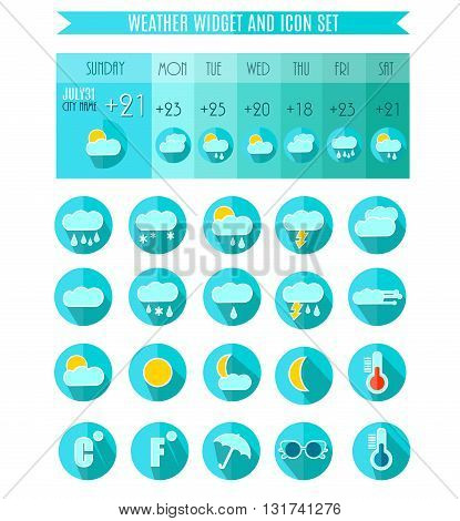 Weather Icon Set. Weater Widget. Weather Forecast.Blue Colors. Vector Illustration