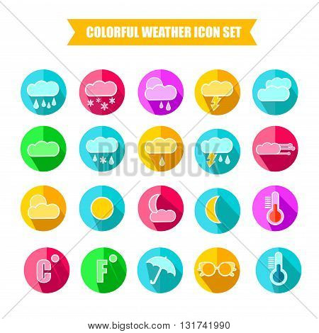 Colorful Weather Forecast Icon Set. Vector Illustration