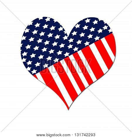 Heart shaped American flag isolated on white