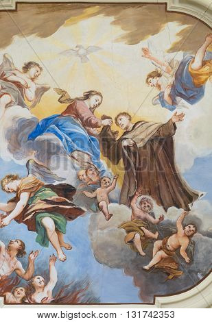 Marostica Italy - April 12 2016: Painted ceiling detail of the church of the