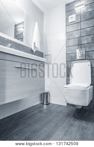 Blue bathroom and toilet in a modern room.