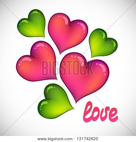 Love. Greeting card with colored hearts. Vector illustration