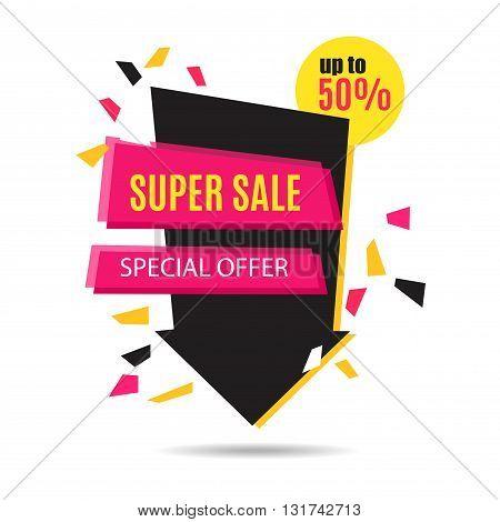 Super Sale Arrow Banner Design. Vector Sale Illustration for Promotional brochurebookletposter shopping flyer discount banner.